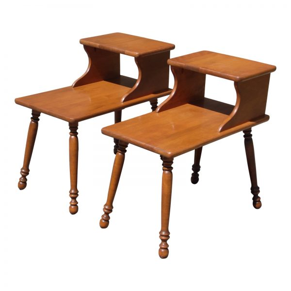 Pair Vintage Maple Colonial Style Step End Tables Nightstands