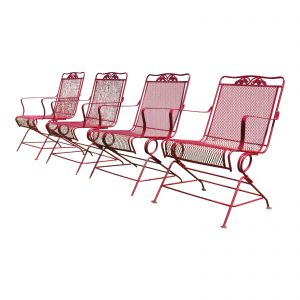 Vintage Mid Century Modern Wrought Iron & Metal Mesh Bouncer Patio Chairs - Set of 4