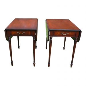 Vintage Pair Imperial Federal Mahogany Barley Twist Drop Leaf Pembroke Tables