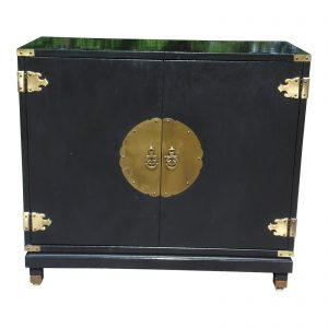 Vintage Sanford Furniture Asian Oriental Style Black Lacquer Cabinet Entry Chest