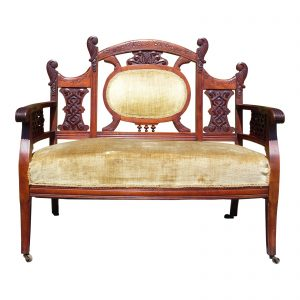 Antique Walnut Victorian Settee Loveseat Entry Bench