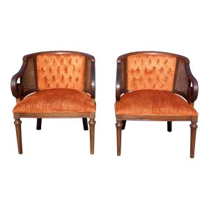 Pair Vintage Mid Century Modern Tufted Bergere Cane Scroll Arm Chairs