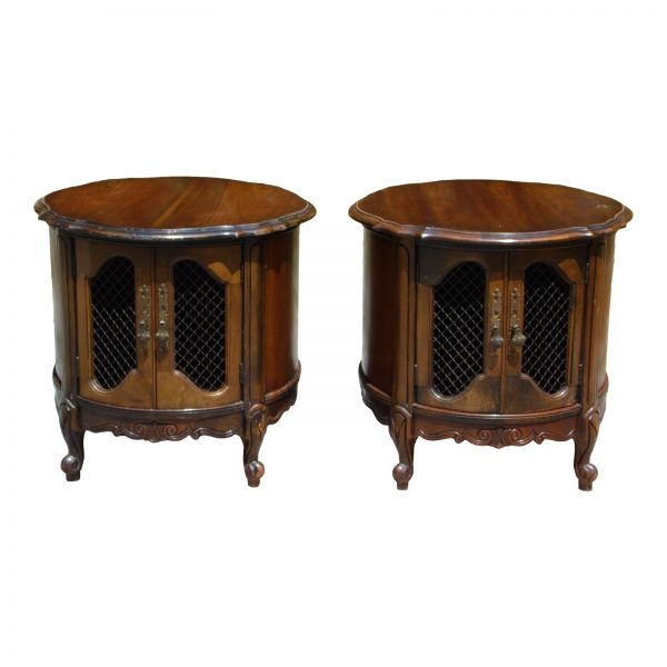Vintage Pair French Provincial Drum Tables Round Cabinets Nightstands