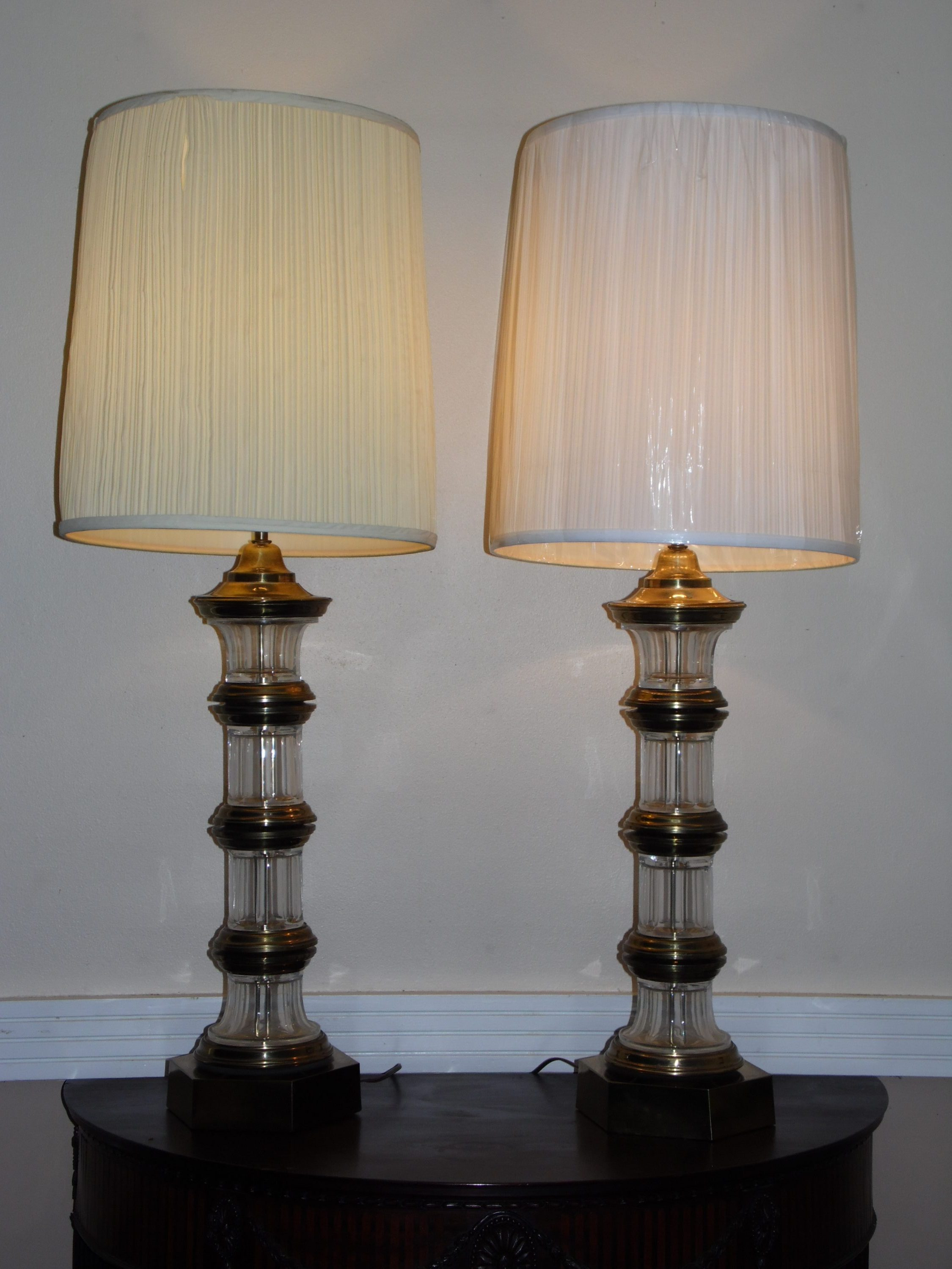 Vintage Pair Hollywood Regency Chapman Banded Brass Crystal Glass Table Lamps Deco2modern Mid Century Modern Furniture