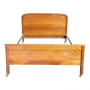 Antique Tiger Oak Demilune Full Size Double Bed C.1900