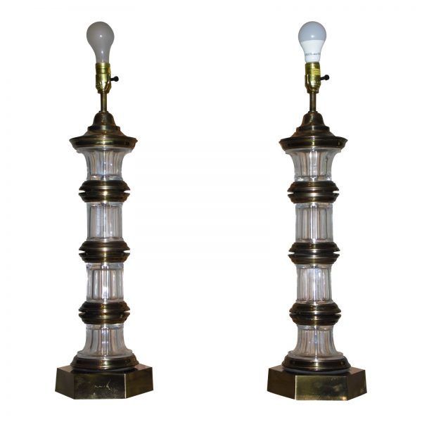 Vintage Pair Hollywood Regency Chapman Banded Brass & Crystal Glass Table Lamps