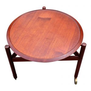 Vintage Scandinavian Mid Century Modern Teak Round Rolling Serving Tray Table