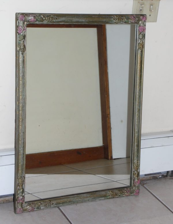 Vintage Art Deco Barbola Polychrome Floral Gesso Framed Wall Mirror