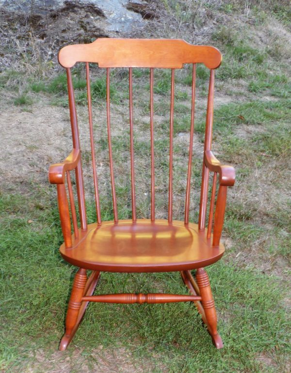 Vintage Nichols & Stone Colonial Style Solid Maple Rocking Chair Windsor Rocker