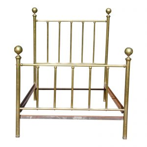 Antique Early 20th Century High Back Brass Cannonball Full Double Bed Frame