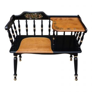 Vintage Ethan Allen Gossip Bench Hitchcock Style Telephone Table Entry Bench
