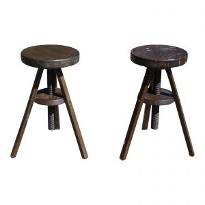 Vintage Pair Industrial Solid Wood Tripod Rotating Adjustable Drafting Stools