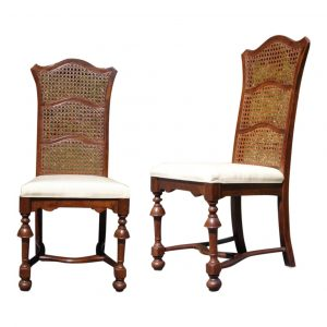 Vintage Pair Ethan Allen Jacobean Style Cane High Back Dining Chairs