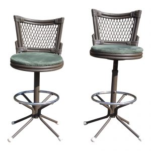 Vintage Pair Mid Century Modern Wrought Iron Chair Corp. Futura Swivel Stools