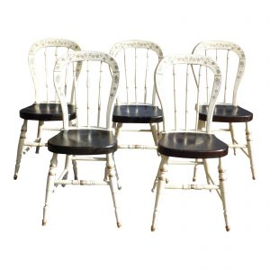 Set of 5 Ethan Allen Homestead Hitchcock Style Country Farmhouse Dining Chairs