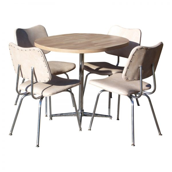 Vintage Mid Century Modern Chrome Dinette Set Dining Table & 4 Chairs Dining Set
