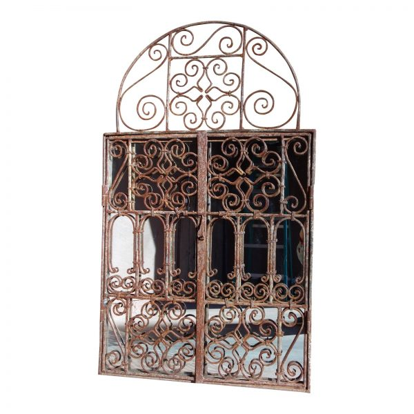Vintage Trifold Triptych Wrought Iron Distressed Arched Gate Mirror
