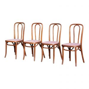 Antique C. 1914 Bentwood Bistro Cafe Chairs Czechoslovakia-Set of 4