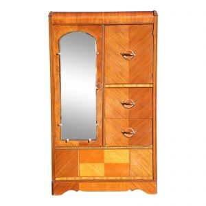 Antique Art Deco Waterfall Chifferobe Armoire Wardrobe Dresser Closet