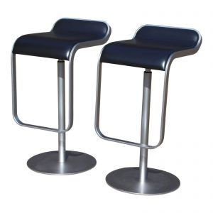 Pair Black LaPalma Lem Adjustable Bar Counter Stools Italy