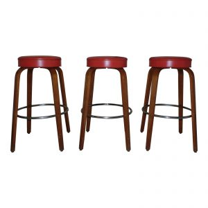 Vintage Set of 3 Mid Century Modern Thonet Bentwood Counter Bar Stools
