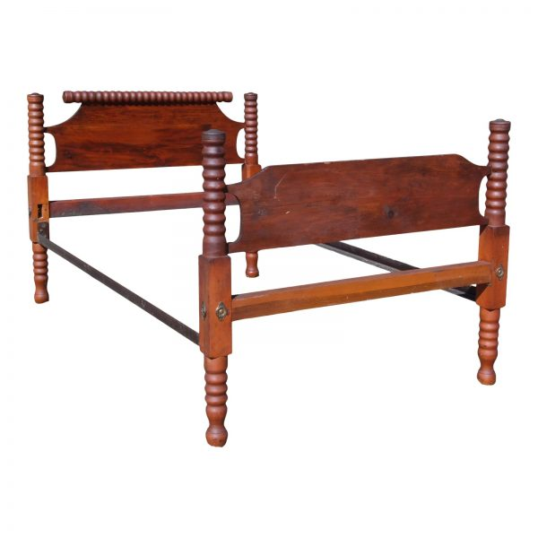 Antique Primitive Solid Chestnut & Pine Full Double Spool Bed 1800s