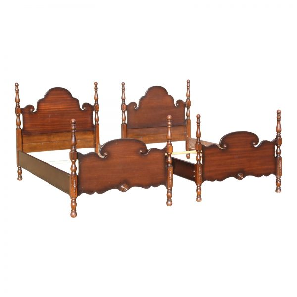 Vintage Pair Mahogany Twin Poster Beds French Country Style Single Bed Frames