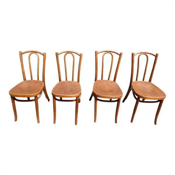 Vintage Mazowia Embossed Bentwood Cafe Dining Chairs Poland- Set of 4