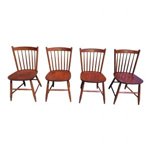 Vintage L. Hitchcock Riverton Solid Cherry Stenciled Dining Chairs- Set of 4