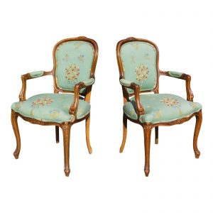Vintage Pair French Provincial Louis XV Style Fauteuil Bergere Arm Chairs